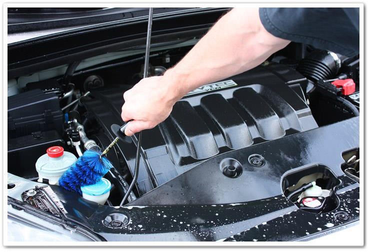 غسيل أجزاء محرك السيارة